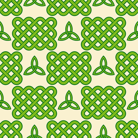 Traditional green Celtic style braided knots and triquetra symbols seamless pattern. Irish St. Patricks day vector background. Illustration