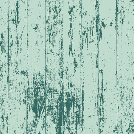 Grunge wood overlay texture. Vector vintage illustration background in teal blue over mint green, square format.