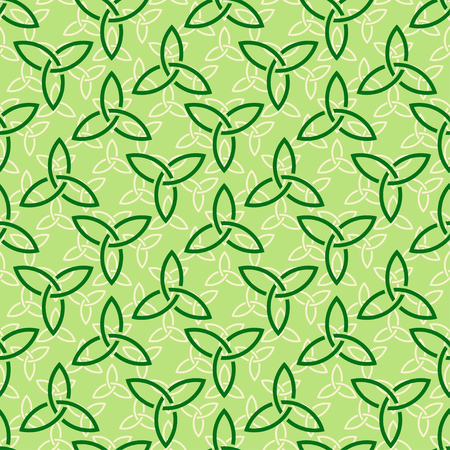 Traditional green celtic style braided knots triquetra symbols seamless pattern. Irish St. Patricks day vector backround.