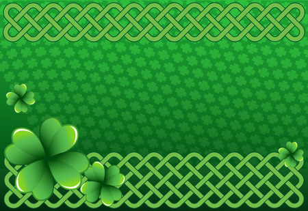 Rich green Saint Patricks Day frame with four-leaf clover shamrock leaves. Irish festival celebration greeting card design background. Celtic interlaced knots horizontal backdrop.