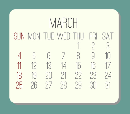 Year 2018 March plain contemporary vector calendar. Week starting from Sunday. Beige rounded rectangle over teal green background.