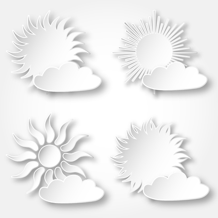 Set of white vector paper bright shining suns icons on the sky.  イラスト・ベクター素材