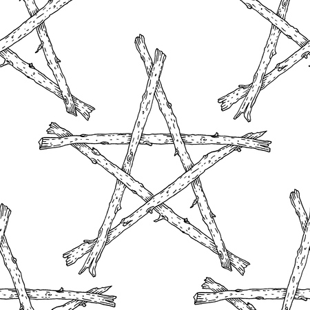 Witchcraft Wicca sticks pentagram seamless pattern, hand drawn magic occult star symbol. Vector background illustration in black over white.