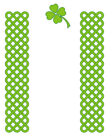 Traditional green celtic style braided knot borders with clover leaf isolated over white. Irish St. Patricks day vector backround. Illustration