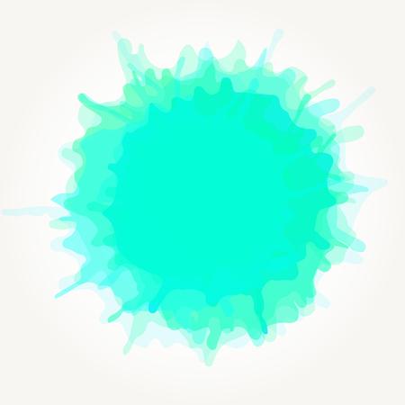 Ein Vektor abstrakte künstlerische Aquarell splash Tropfen . Aqua grüne Farbe Fleck isoliert über weißem Hintergrund