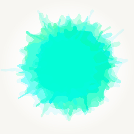 A Vector abstract artistic watercolor splash drop. Aqua green paint blot isolated over white background.
