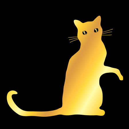 Golden domestic sitting cat pet mascot silhouette icon, vector illustration isolated over black.