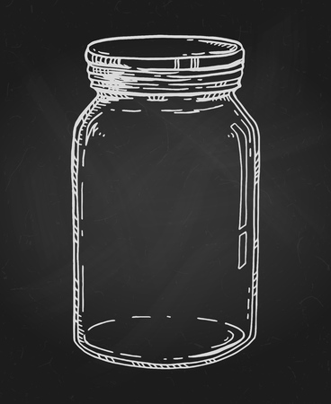 Vector hand drawn illustration with empty glass jar. Contour chalk sketch in white over textured blackboard.
