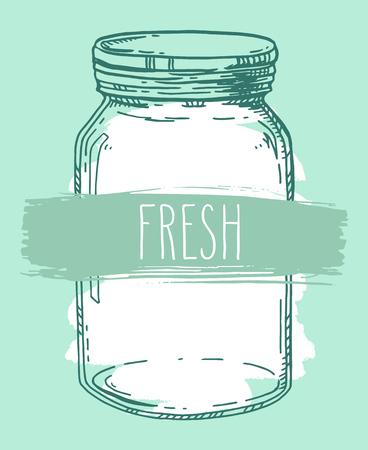 Vector hand drawn illustration with vintage jar and word Fresh. Contour sketch in shades of green. Freshness concept. Ilustração
