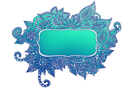 Colored ornate floral doodle frame isolated on white with room for your text. 일러스트