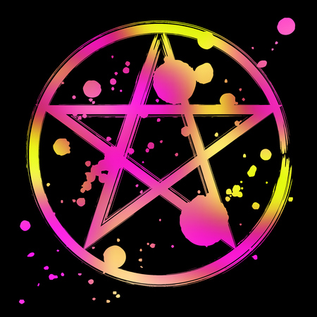 Pentagram icon, vibrant colorful brush drawing magic occult star symbol. Vector splatter illustration isolated over black.