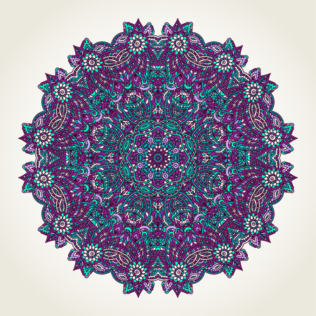 Ornate lacy doodle floral round rosette over white backgrounds. Hand drawn teal, blue and purple mandala. Vettoriali