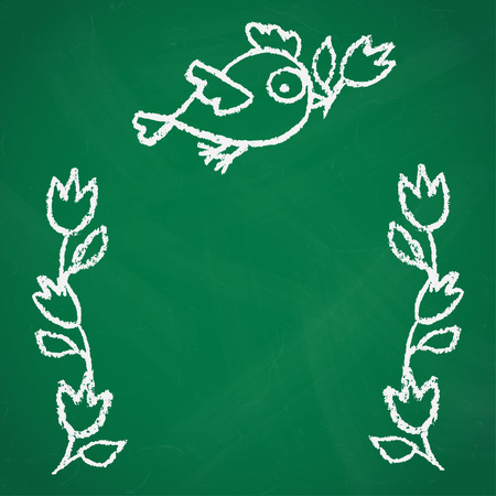 Cute little hand drawn birds and flowers illustration in white over green chalkboard. Cartoon vector background with funny chicks.