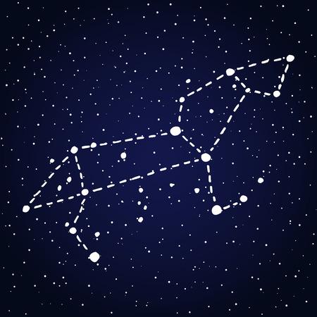 Leo hand drawn Zodiac sign constellation in white over dark blue starry night sky. Vector graphics astrology illustration. Western horoscope mystic symbol.