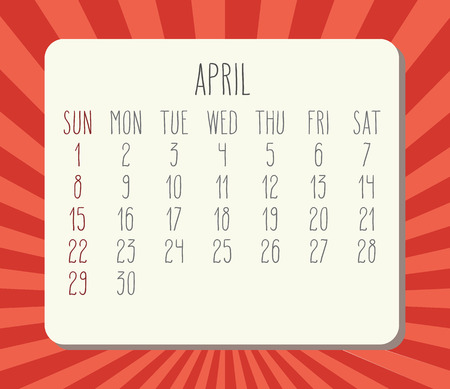 Year 2018 April vector calendar. Hand drawn numbers, white planks over red rays background. Week starting from Sunday.
