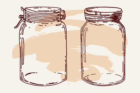 Vector hand drawn vintage illustration with two empty jars. Contour sketch in brown over beige.