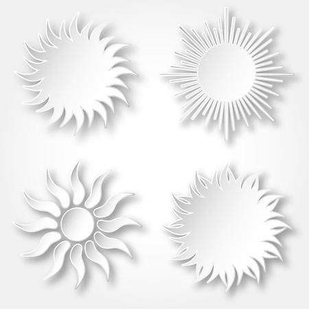 空に輝く太陽のアイコンの白いベクトル紙のセット。