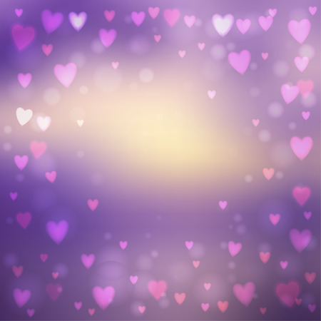 その上に小さなハート形のライトを持つ抽象的な正方形のぼかし紫色の背景。  イラスト・ベクター素材
