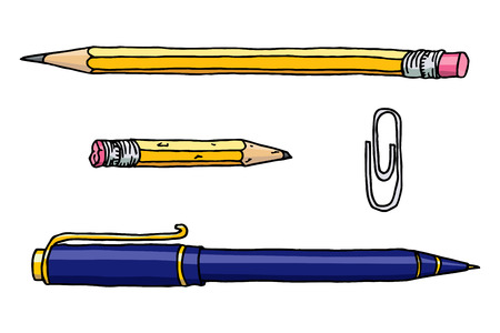 Stationery set hand drawn vector doodle illustration. Pencils, pen and clip collection isolated over white. Illustration