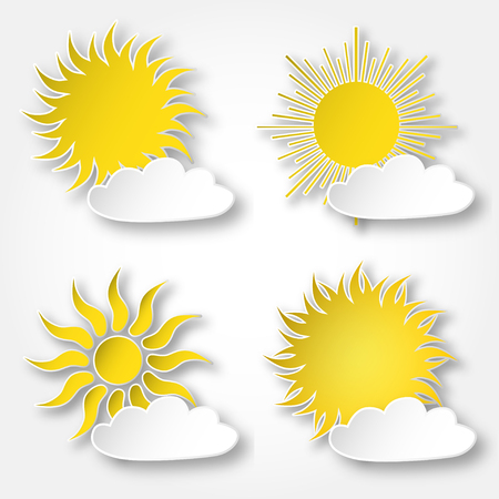 Set of yellow vector paper bright shining suns icons on the sky, isolated over white.  イラスト・ベクター素材