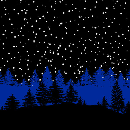 Night forest trees silhouettes background vector illustration in black and blue. Sky with stars or snow.