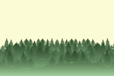 Twilight fog spruce forest trees silhouettes background illustration in green color. Illustration