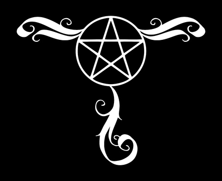 Decorated pentagram icon, magic occult star symbol with flourishes. Vector illustration in white isolated over black. 일러스트