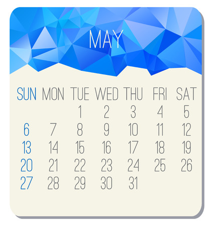 May year 2018 vector calendar. Week starting from Sunday. Contemporary low poly design in blue color.