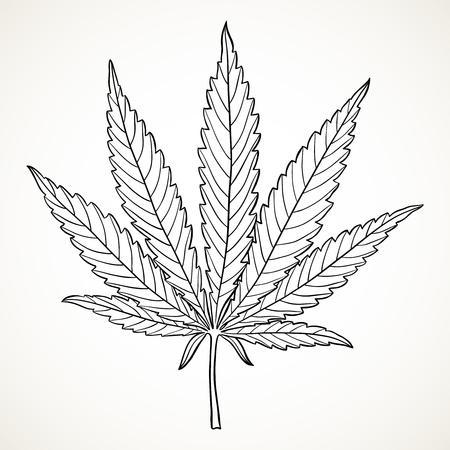 Marihuana-Blatt. Hand gezeichnetes narkotisches Cannabis-Umriss-Gestaltungselement. Hanfvektorillustration in Schwarz lokalisiert über weißem Hintergrund.