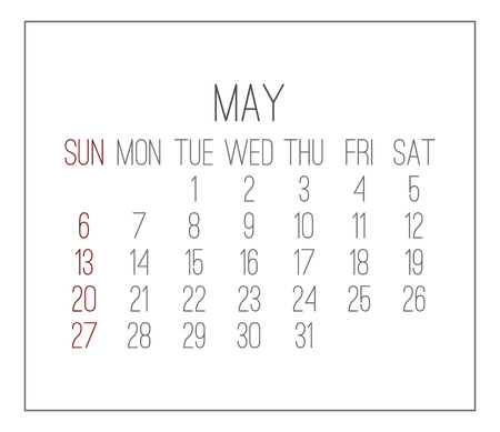 Plain contemporary May year 2018 vector white calendar. Week starting from Sunday.