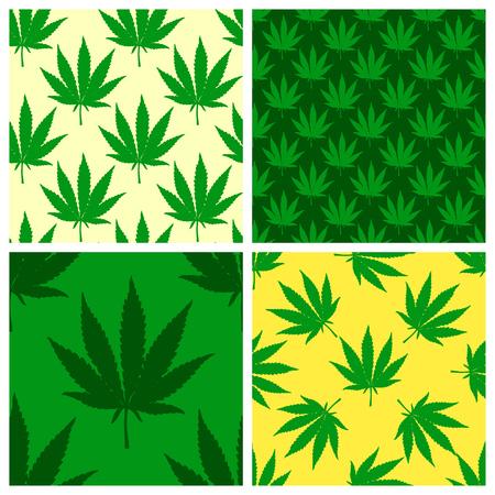 Marijuana leaf green seamless patterns set. Hand drawn narcotic cannabis background. Hemp vector illustration backdrop.