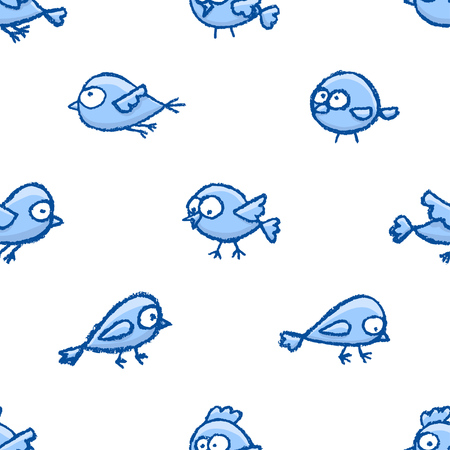 Cute little hand drawn birds seamless pattern. Cartoon vector background with funny blue birds over white.