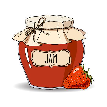 Illustration vectorielle dessinés à la main avec pot de confiture de fraises vintage. Croquis coloré isolé sur blanc.