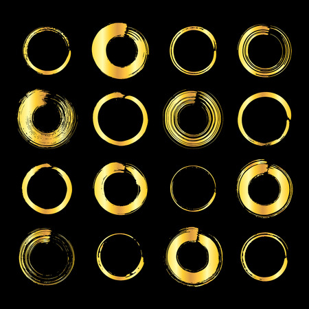 Collection of miscellaneous golden grunge brush strokes round frames isolated over black background. Set of design elements. Vector illustration.