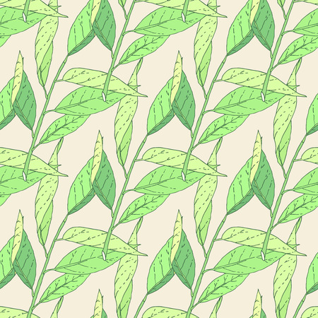 Hand drawn green leaves tree branch sketch seamless pattern. Vector nature background illustration.