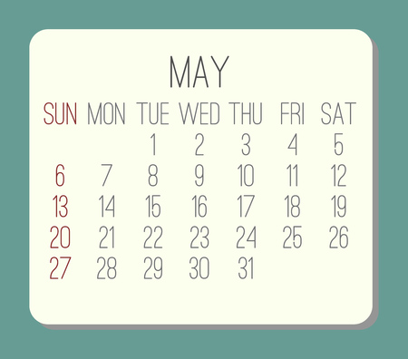 May year 2018 plain contemporary vector calendar. Week starting from Sunday. Beige rounded rectangle over teal green background.