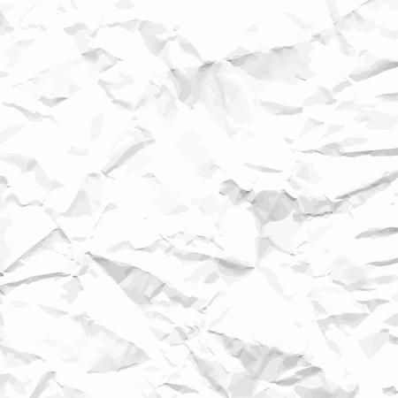 Sheet of blank white crumpled paper background texture. Vector illustration backdrop, square format.