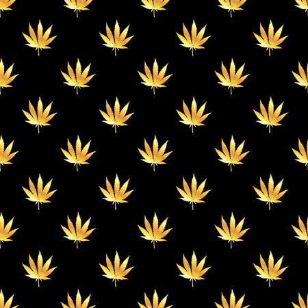 Golden marijuana leaf seamless pattern. Hand drawn narcotic cannabis dark background. Hemp vector illustration backdrop.