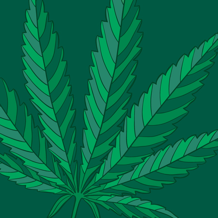 Marijuana leaf green background. Hand drawn narcotic cannabis backdrop. Hemp vector illustration wallpaper