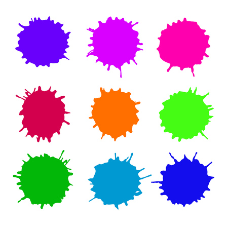 Set of vector abstract artistic paint splashes and drops. Multicolor ink blots over white background.
