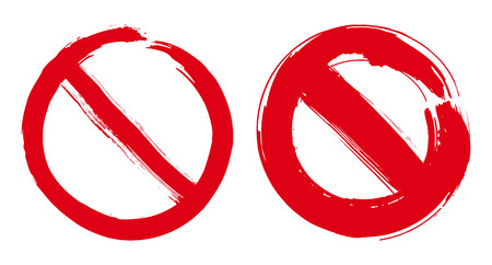 Stop signs hand drawn design elements set. Prohibition no symbol, warning. Vector illustration in red isolated over white background.