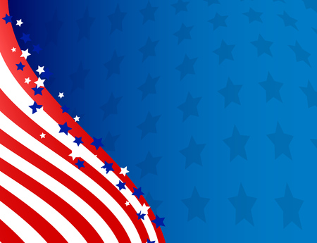 American flag patriotic flowing background, Independance day vector illustration.