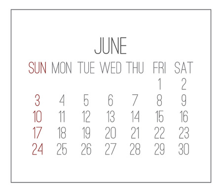 Plain contemporary June year 2018 vector white calendar. Week starting from Sunday.