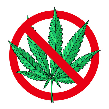 No drugs red sign. Hand drawn marijuana leaf prohibited. Stop narcotic cannabis design element. Vector illustration isolated over white background.