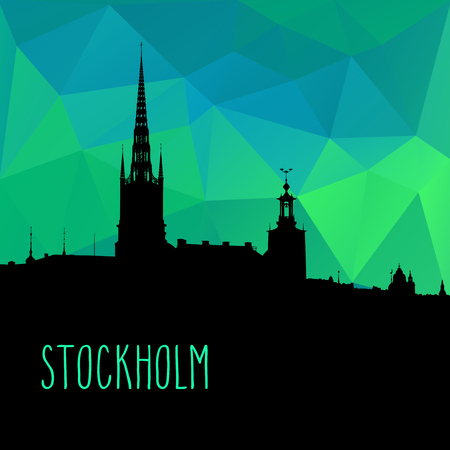 Stockholm city skyline vector illustration. Black silhouette over colorfull green and blue low poly background.   イラスト・ベクター素材