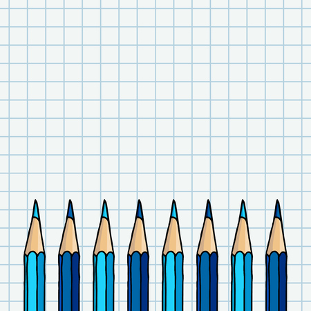 Blue pencils border over squared notebook page. Stationery hand drawn vector doodle illustration blank frame.