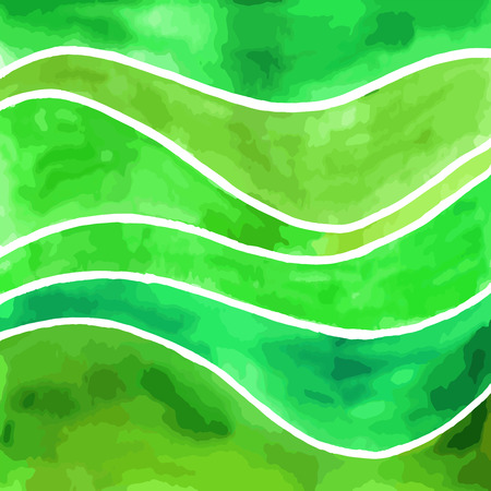 Abstract green waves vector watercolor painting. Art texture background, square format. 일러스트