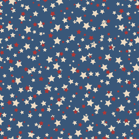 American patriotic stars seamless pattern in vintage colors.