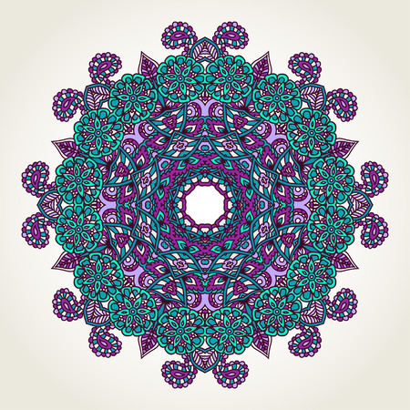 Ornate lacy doodle floral round rosette over white backgrounds. Hand drawn teal, blue and purple mandala. 일러스트