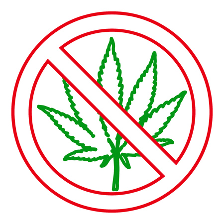 No drugs red sign. Hand drawn marijuana leaf prohibited. Stop narcotic cannabis design element. Vector outline illustration isolated over white background.